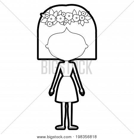 sketch silhouette of caricature skinny faceless woman in clothes with short hairstyle and flower crown accesory vector illustration
