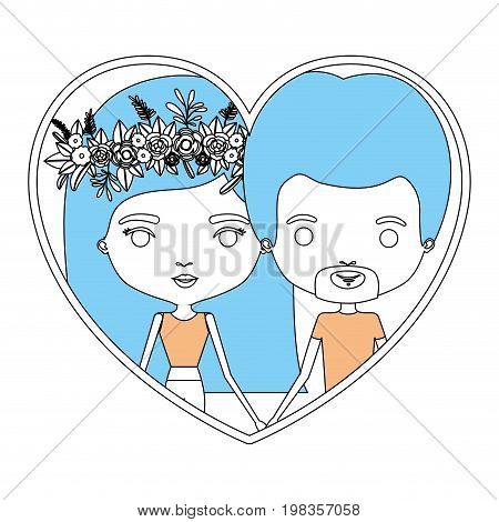 color section silhouette of heart shape with caricature couple man and woman with long and flower crown in hair inside holding hands vector illustration