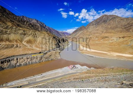 Confluence of the Indus and Zanskar Rivers in Leh District, India