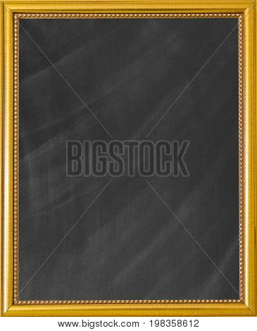 Golden picture frame. Clean chalk on blackboard for background. texture for add text. Empty blank black chalkboard. Gilded frame for paintings