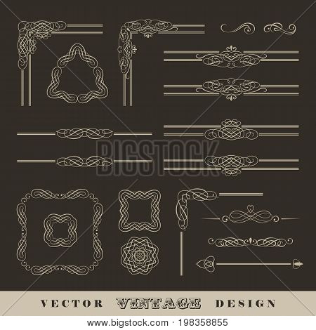 Abstract frames, borders, corners. Set of vintage vector calligraphic linear corners and retro frames
