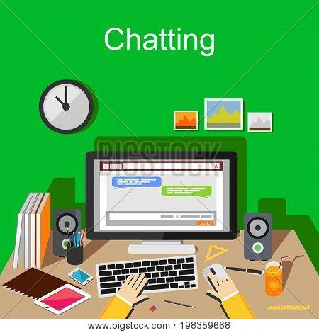 Chatting concept illustration. Online chatting application on desktop. Social network