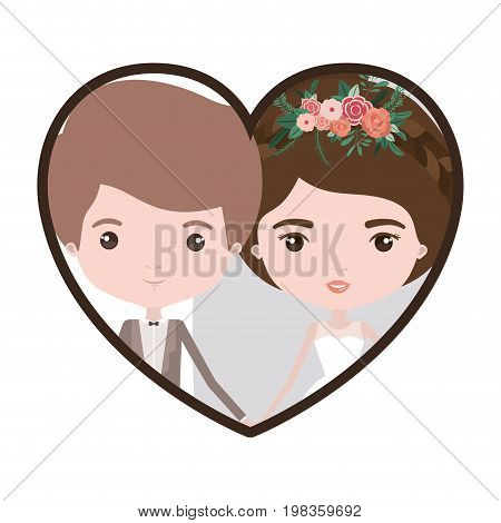 colorful heart shape portrait with caricature newly married couple groom with formal wear and bride with collected hairstyle vector illustration