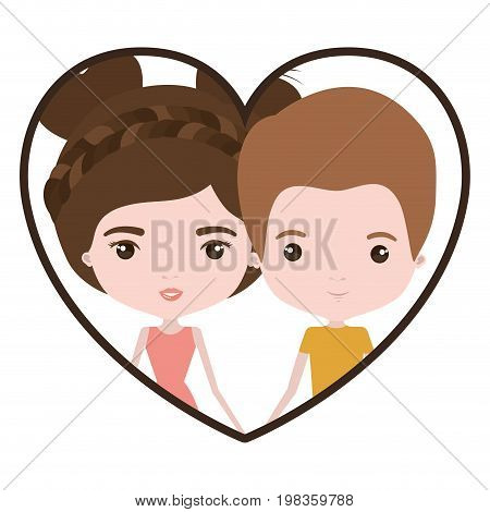 colorful heart shape portrait with caricature newly married couple groom with short brown hair and her with dress and double bun hairstyle vector illustration