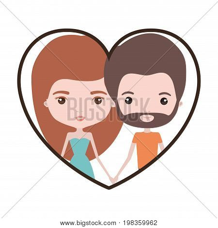 colorful heart shape portrait with caricature couple of her with dress and long red hair and him with brown hair and beard vector illustration