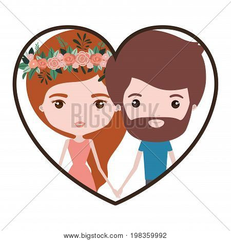 colorful heart shape portrait with caricature couple of her in dress with long red hair with floral crown and him with beard vector illustration