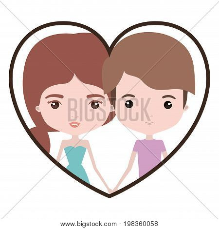 colorful heart shape portrait with caricature couple and him with short light brown hair and her with dress and ponytail hairstyle vector illustration