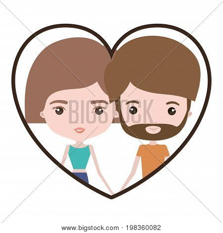 colorful heart shape portrait with caricature couple and both with light brown hair and pants and her with short hair and him with beard vector illustration