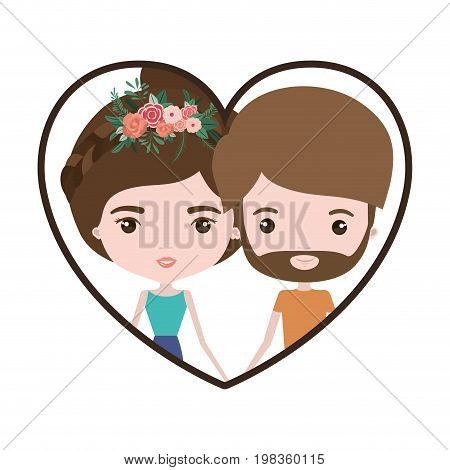 colorful heart shape portrait with caricature couple and both with brown hair and her with collected hair and floral crown and him with beard vector illustration