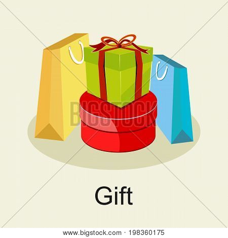 Gifts concept. Shopping gifts or prize gifts concept.