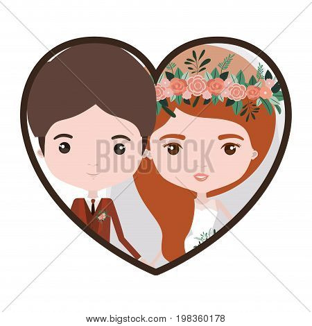 colorful heart shape portrait with caricature newly married couple groom with formal wear and bride with wavy side long hairstyle vector illustration
