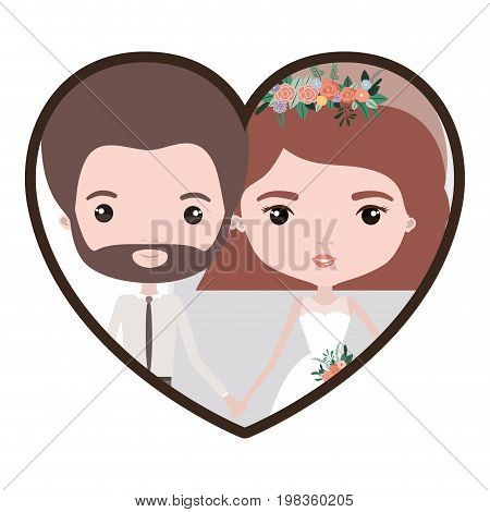 colorful heart shape portrait with caricature newly married couple groom with formal wear and bride with wavy short hairstyle vector illustration
