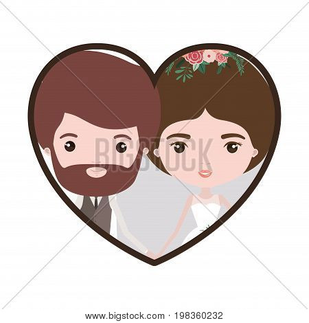 colorful heart shape portrait with caricature newly married couple bearded groom with formal wear and bride with bun hairstyle vector illustration