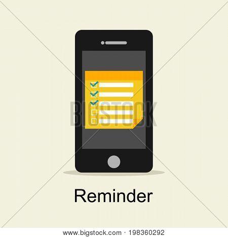 Reminder concept. Reminder application on mobile phone.