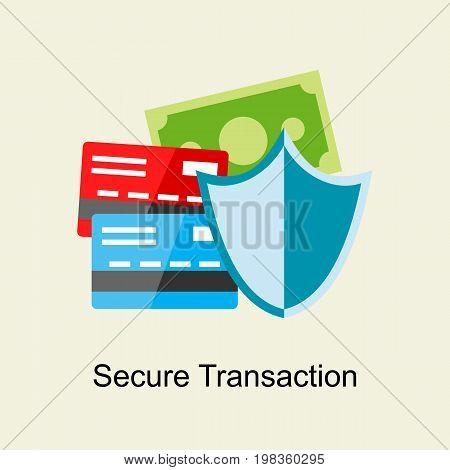 Secure payment transaction concept. Payment protection Flat design .