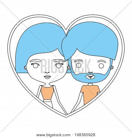 color sections silhouette heart shape portrait with caricature couple and her with short hair and him with beard vector illustration
