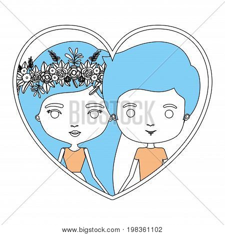 color sections silhouette heart shape portrait with caricature couple and her in dress with long straight hair with floral crown and him in casual clothes vector illustration