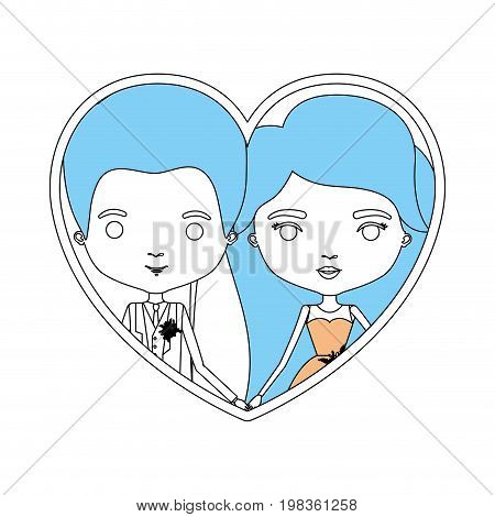 color sections silhouette heart shape portrait with caricature newly married couple groom with formal wear and bride with long hairstyle vector illustration