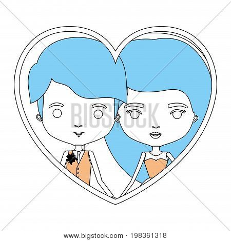 color sections silhouette heart shape portrait with caricature newly married couple young groom with formal wear and bride with long hairstyle vector illustration