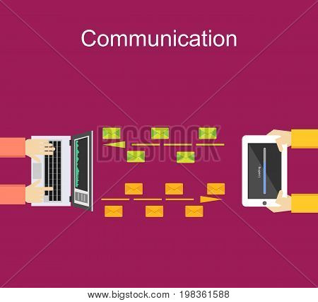 File sharing. Data transfer concept. Communication between devices. Sending file concept illustration. Wireless communication.