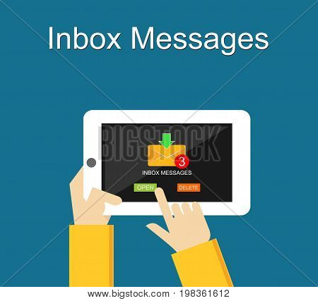 Inbox messages notification on mobile phone concept.
