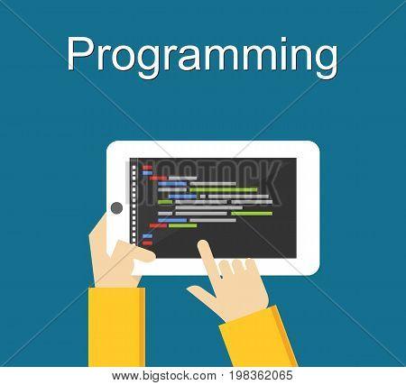 Programming concept. Flat design illustration concepts for coding or programming. Application development on gadget