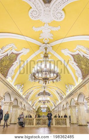 Moscow, Russia – July 09, 2017: Interior Of Komsomolskaya Metro Station In Moscow, Russia. .komsomol