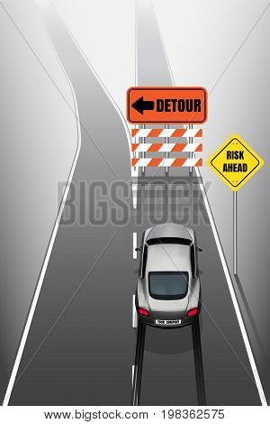 Sport car/ your company car is braking when see detour signs