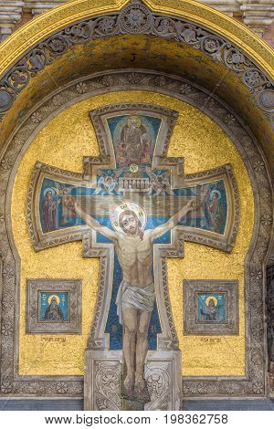 Jesus On The Cross At Church Of The Savior On Spilled Blood