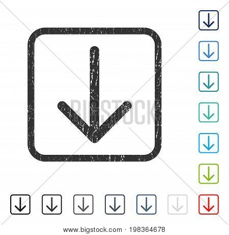 Arrow Down rubber watermark in some color versions.. Vector icon symbol inside rounded rectangular frame with grunge design and scratched texture. Stamp seal illustration, unclean sign.