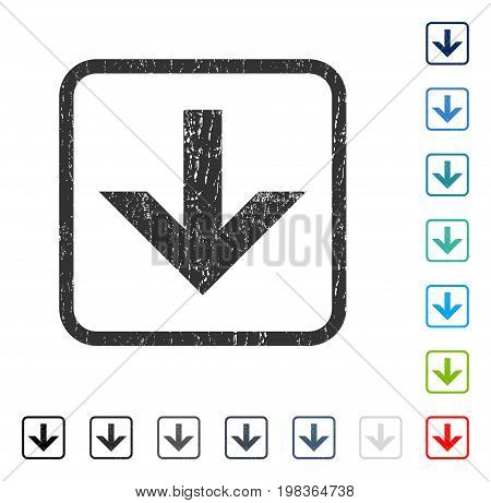 Arrow Down rubber watermark in some color versions.. Vector pictogram symbol inside rounded rectangle with grunge design and dirty texture. Stamp seal illustration, unclean emblem.