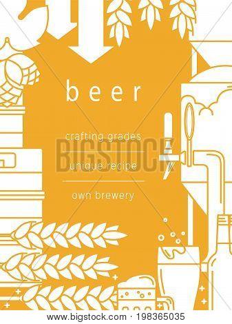Beer, glass, mug, tap, bottle, kegs, equipment for brewing, brewery, malt, hops. Vector background.