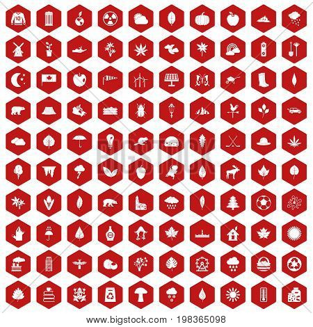 100 leaf icons set in red hexagon isolated vector illustration
