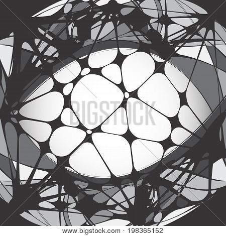 Fantasy Vector Pattern or Texture. Lattice or Web Backgrounds with Black Circles