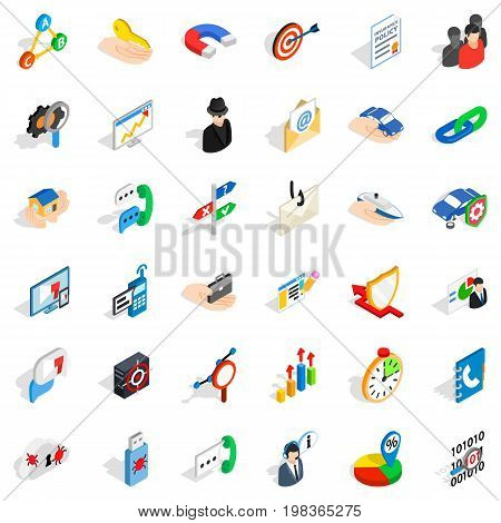 Business progress icons set. Isometric style of 36 business progress vector icons for web isolated on white background