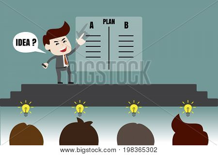 Management presented to brainstorm gather ideas, business concept, vector illustration