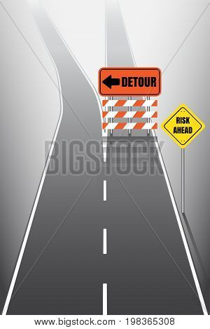 Road with detour and risk signs, vector illustration