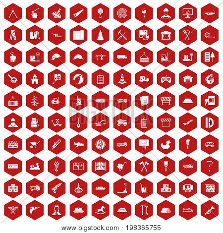 100 lorry icons set in red hexagon isolated vector illustration