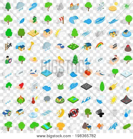 100 calamity icons set in isometric 3d style for any design vector illustration