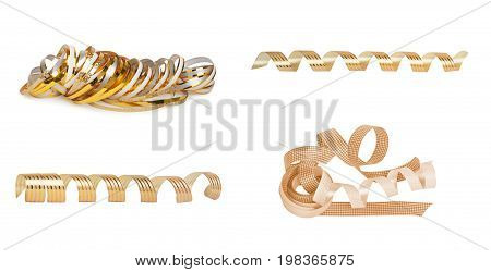 Set of gold paper horizontal ribbon on the white isolated background