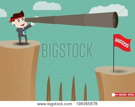 Businessman is looking beyond success, vector illustration