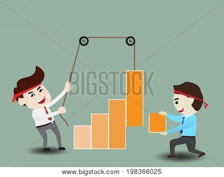 Businessmen accelerate business growth, business concept, vector illustration