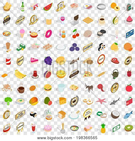 100 chef icons set in isometric 3d style for any design vector illustration