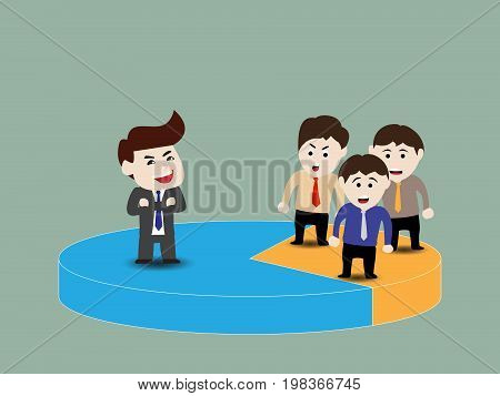 Authorized person and share area, business concept, vector illustration