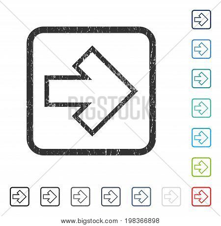 Arrow Right rubber watermark in some color versions.. Vector icon symbol inside rounded rectangular frame with grunge design and dust texture. Stamp seal illustration, unclean sticker.