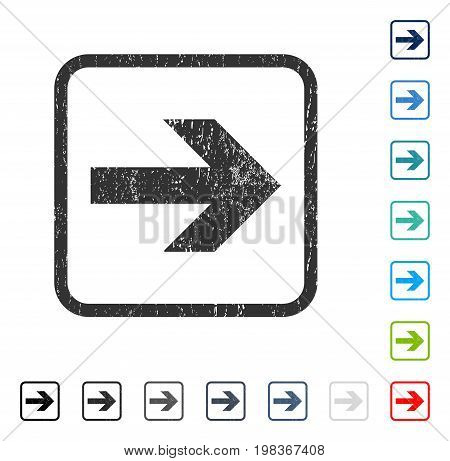 Arrow Right rubber watermark in some color versions.. Vector pictogram symbol inside rounded rectangular frame with grunge design and scratched texture. Stamp seal illustration, unclean emblem.