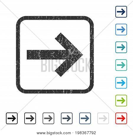 Arrow Right rubber watermark in some color versions.. Vector pictogram symbol inside rounded rectangular frame with grunge design and unclean texture. Stamp seal illustration, unclean sign.