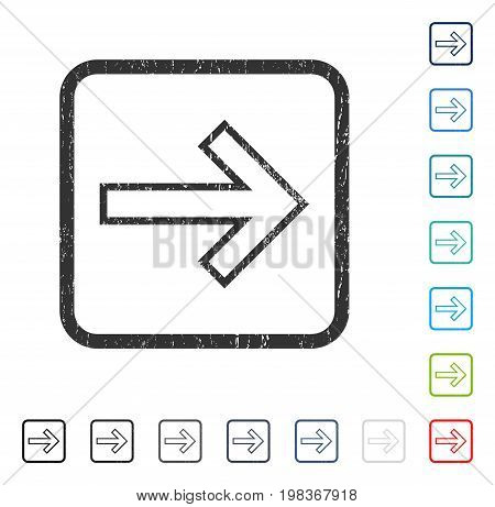 Arrow Right rubber watermark in some color versions.. Vector pictogram symbol inside rounded rectangle with grunge design and dirty texture. Stamp seal illustration, unclean sign.