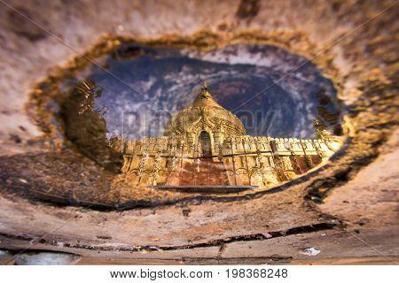 Reflection of Shwezigon Pagoda or Shwezigon Paya in Bagan Myanmar.