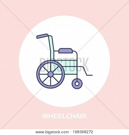 Modern vector line icon of wheelchair. Disabled people help linear logo. Outline symbol for handicapped. Special needs design element for site, poster. Medical equipment business logotype, street sign